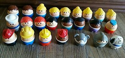 Vintage Fisher Price Little People Lot 24 Chubby Fat Little Tyco Toy Valentines!