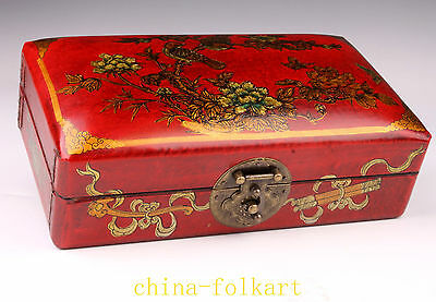 Restore Ancient Ways Jewelry Ornament Wood Leather Painting Flowers Birds Gift B