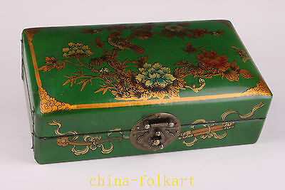 Wood Green Leather Painting Flowers Ornament Jewelry Box Collectable