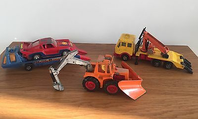 Bundle Of Vintage Matchbox Vehicles - Car Transporter Lorry Trailers Tractor