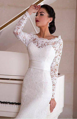 New White Ivory Lace Wedding Dress Bridal Gown Custom Size 4 6 8 10 12 14 16 18=