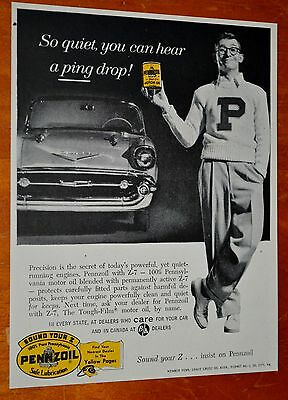 1957 Chevy Convertible For Penzoil Motor Oil Ad - Vintage 50S Retro Fifties