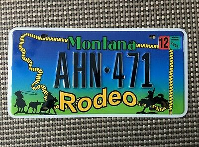 """MONTANA  """"Support the Rodeo""""  souvenir/copy  license plate"""