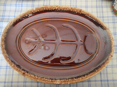 """HULL Brown Drip Oven Proof POTTERY 14"""" Ribbed Meat PLATTER Excellent Condition!"""
