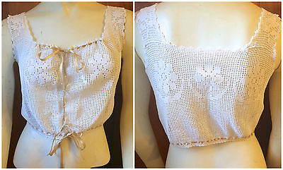 1910s Edwardian Handmade Crochet Lace Sheer Corset Cover Lace Up Crop Top