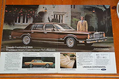 1980 Lincoln Continental Town Car & Coupe Ad - Vintage Luxury Retro 1980S