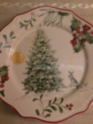 4 Better Homes and Gardens Heritage Tree New Winter Christmas Salad Plates Limit
