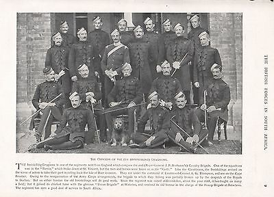 1900 ANTIQUE PRINT-BOER WAR-OFFICERS OF THE 6th (INNISKILLING) DRAGOONS