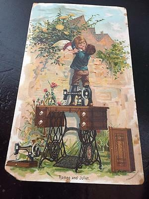 Boy & Girl Kissing Over Wall Standing on Singer Sewing Machine Advertising Trade