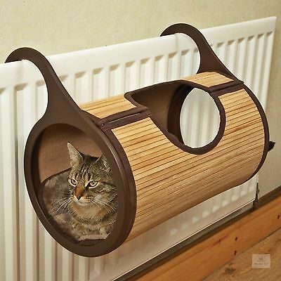 Hanging Cat Bed Bamboo Cushioned Radiator Basket Climb Kitten Nest Pet Warm Cot