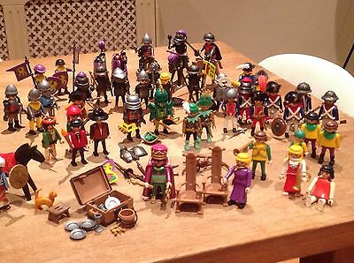 huge set of vintage PLAYMOBIL CASTLE knights, weapons and other figures
