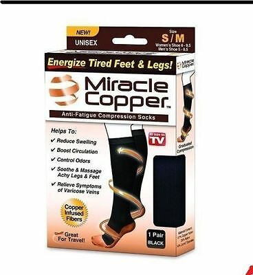 2 Pair New Miracle COPPER Socks Anti Fatigue Compression UNISEX Black