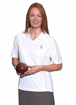 Ladies Taylor Lawn Bowls Pink & White Tiree Sports Top Shirt Pink Piped Trim