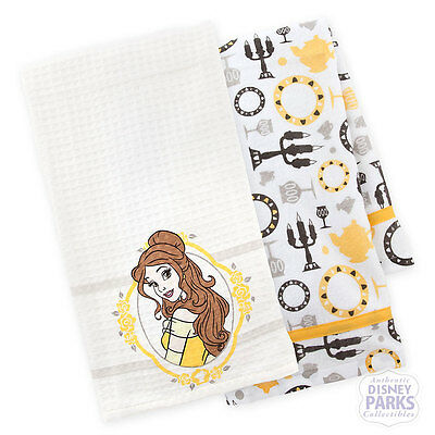 Disney Parks Belle Beauty and the Beast Kitchen Dish Towel Set  of 2 Towels