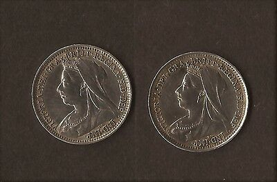 1897 2 X Queen Victoria Silver Threepence Coins