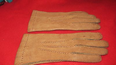 "Superb Pair Of ""Fownes Foreign"" Real Pigskin Tan Leather Gloves - Size 7 1/2"
