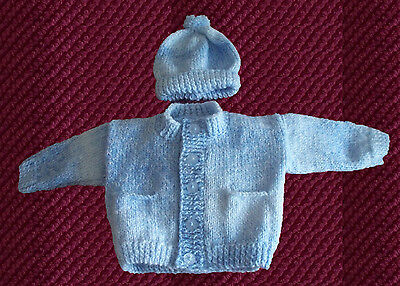 hand knitted baby boys cardigan and hat 0/3 months blue