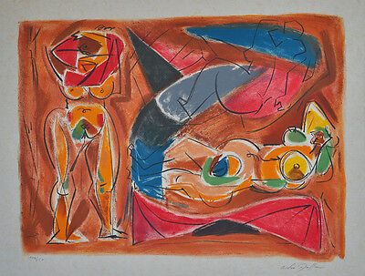 André Masson (1896-1987) : Odalisque [oder] Le peintre et le model. - Farblith.