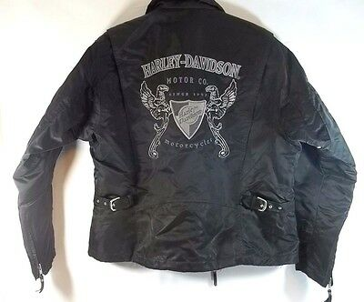 Womens Harley Davidson Quilted Lined Jacket Nylon Black M Embroidered