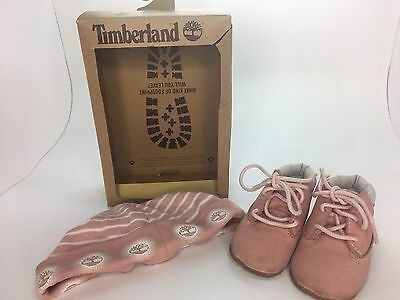 Timberland Baby Girl Pink Bootees & Hat Set Size U.K. 0.5 Eu16 Lightly Used P