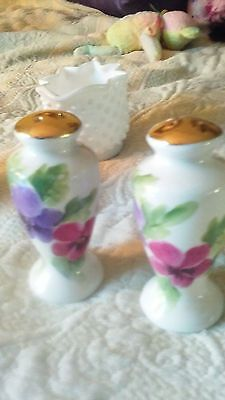 vintage ceramic with pansy flowers, gold tops, vintage, salt and pepper shakers