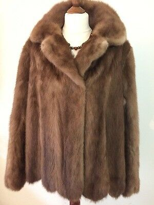 Vintage Stunning  Pastel Mink Real Fur Jacket Coat  Uk 14