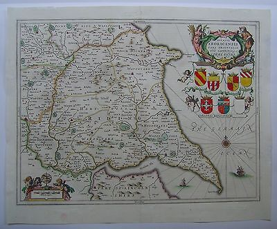 Yorkshire East Riding: antique map by Jan Jansson, 1646