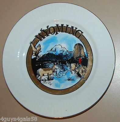 "Collector State Plate WYOMING Gold Trim 7 3/8"" DEER EAGLE COWBOY BRONCO HORSE"