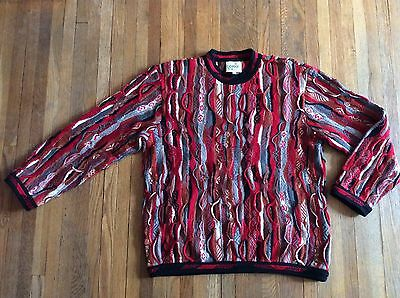 Vintage Coogi Cuggi Sweater Sweatshirt Cable Knit Multi Color Red Gray Mens M