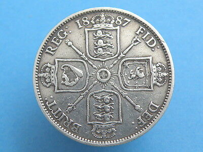 1887 Queen Victoria - SILVER FLORIN TWO SHILLING COIN - Jubilee Head