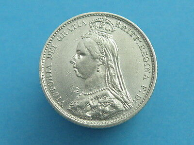 1887 Queen Victoria - SILVER SIXPENCE COIN - Jubilee Head / Sheild - Good Detail