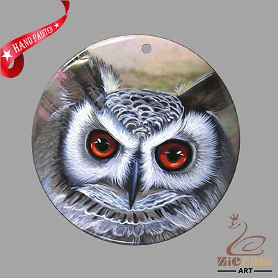 Jewelry Necklace Hand Painted Owl Shell Pendant Zp30 01052