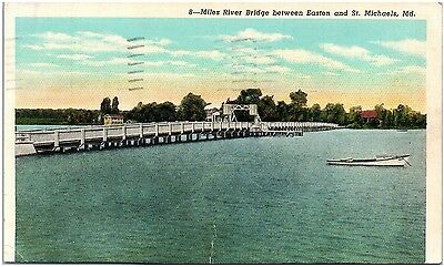 Postcard MD Miles River Bridge Between Easton And St. Michaels D25