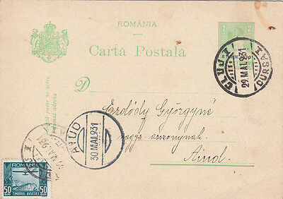 Uprated Aviation Stamp Postal Stationery Romania Royalty 1931 Young  Michael I