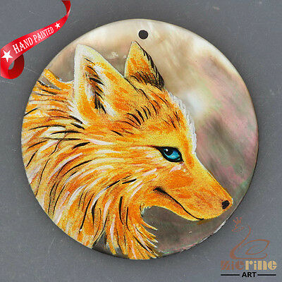 Hand Painted Wolf Dog Natural Mother Of Pearl Shell Necklace Pendant Zh30 00263