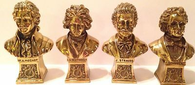 Vintage, Brass Bust Statues Of Composers Strauss, Beethoven,schubert & Mozart