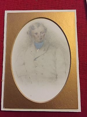 Antique Circa 1830 Pencil Drawing Of A Young Man Named William Palmer