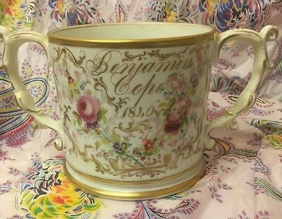 Antique 1846 Staffordshire Christening Twin Handle Loving Cup Gilded H/Painted