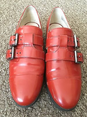 Ladies  Red Patient Leather Buckled Flat Shoes Clarks Narrative Size 5