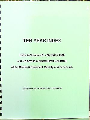 10 Year Index to Vol. 51-60, 1979-1988 CACTUS & SUCCULENT JOURNAL of the CSSA