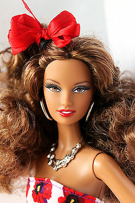 Barbie Basics Doll Red Collection 02 Redressed Beautiful Curly Hair