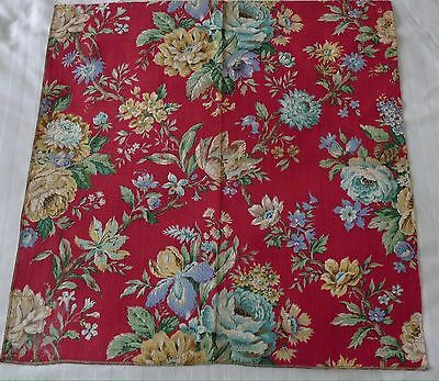 Vintage mid century red rose barkcloth fabric upholstery sample 1950's