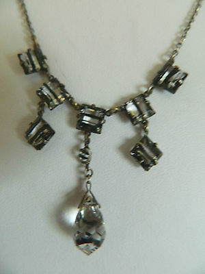 Art Deco black striped crystal necklace