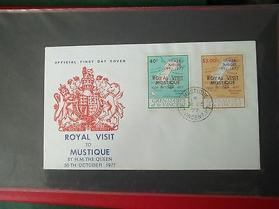 1977 First Day Cover Royal Visit To Mustique From St Vincent