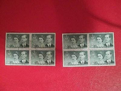 1954 Used Blocks Of 4 Royal Visit Stamps From Australia To 2/- X 2