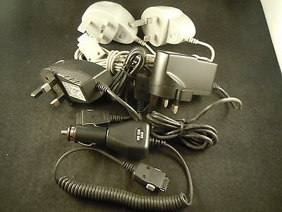 Job lot of 4 Samsung E810 mobile phone mains chargers and 1 in car charger