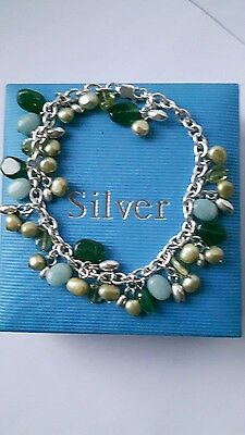 Qvc Sterling Silver Charm Drop Pearl And Gem Bracelet.