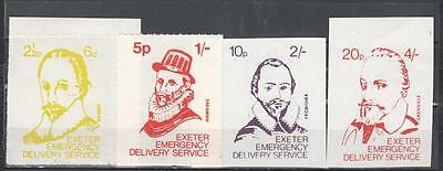 1971 Postal Strike Exeter Emergency Delivery Service Lot Of 4 6d/2 1/2p + 1s/5p