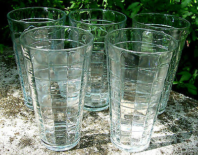"""Anchor Hocking Carlyle / Block Optic Tumbler Set of 5 Clear 6 1/8""""H 1937-76"""