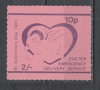 1971 Postal Strike Exeter Emergency Delivery Service 2s-10p St Valentines Day Un